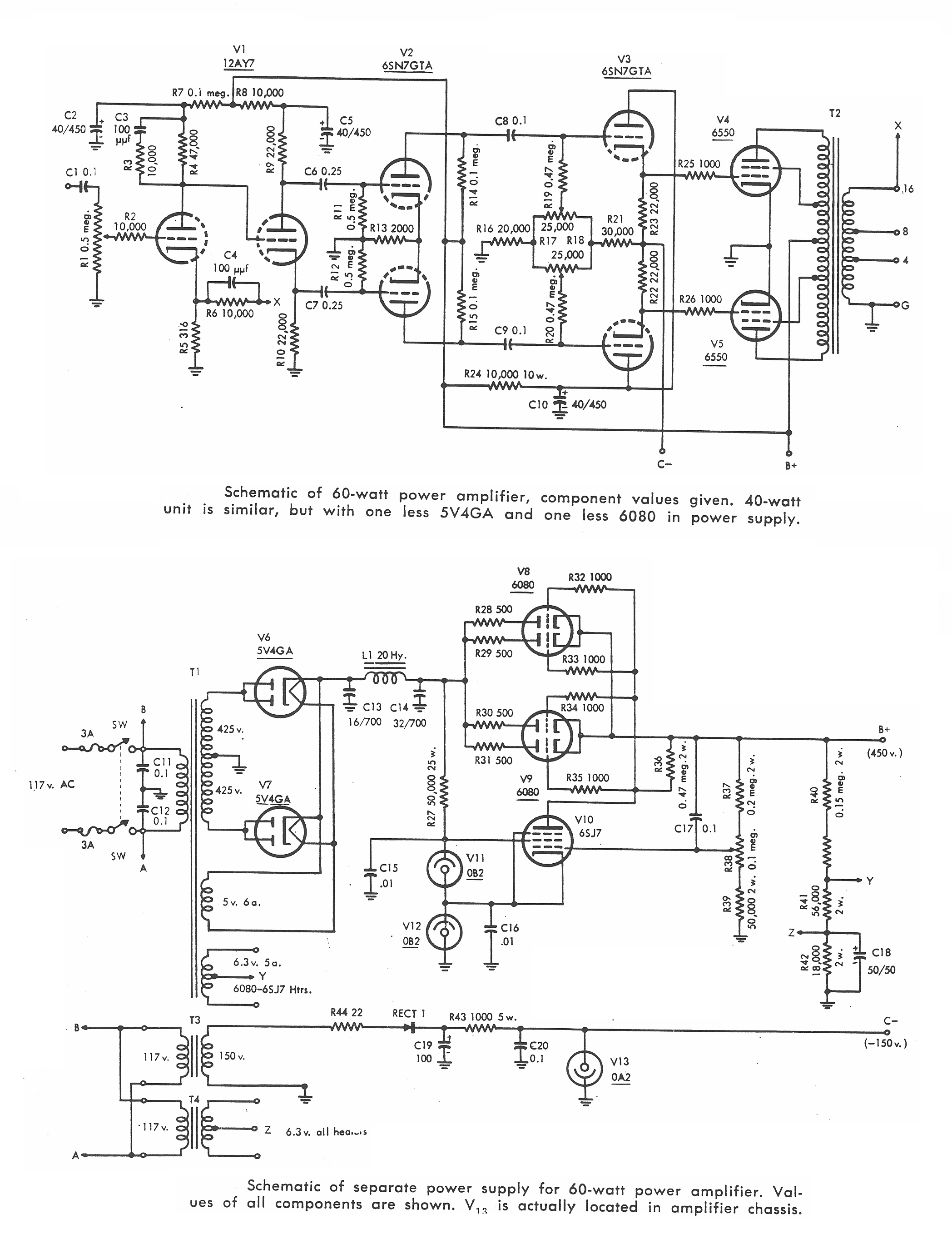 6550PP , reguleret, 40w, 60w, 1955
