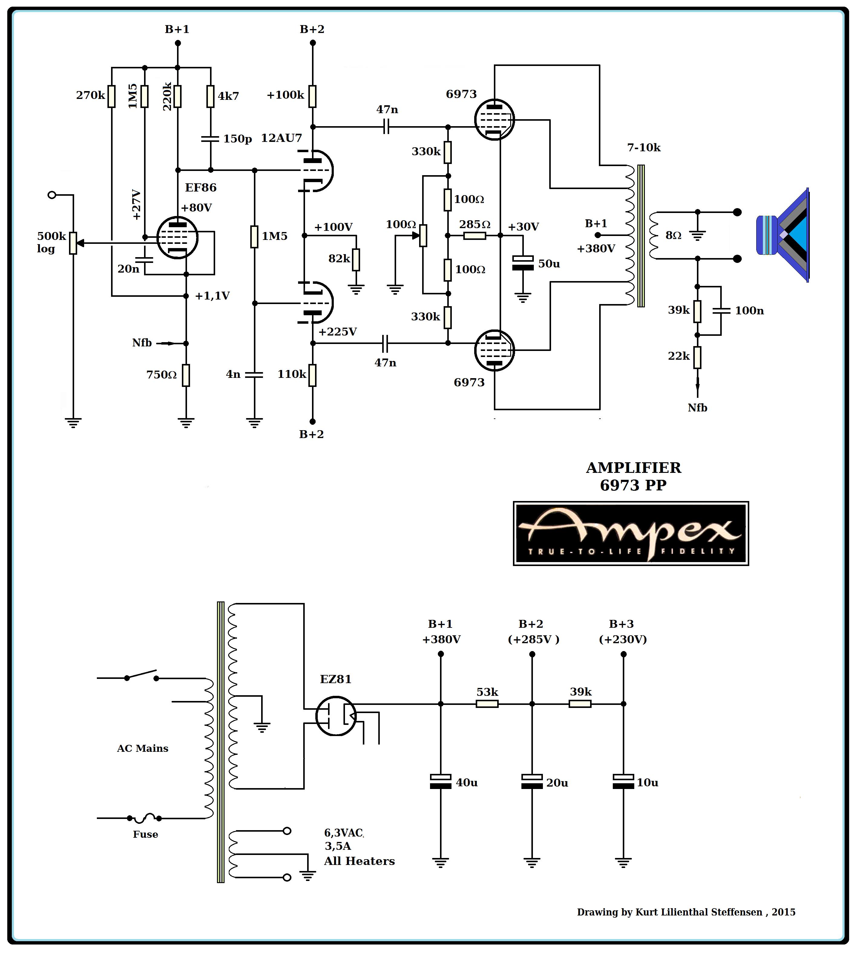 Ampex 6973 PP mono , EF86 , 12AU7 , EZ81. ed