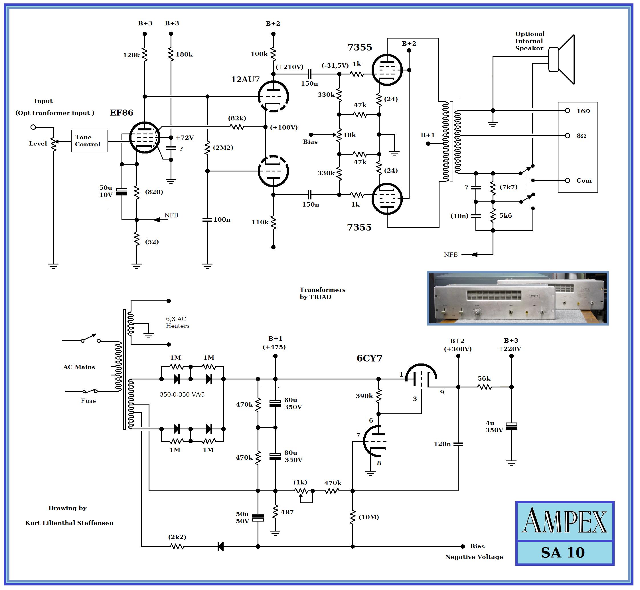 Ampex SA-10 , 7355 PP , sg2 reg. , ed