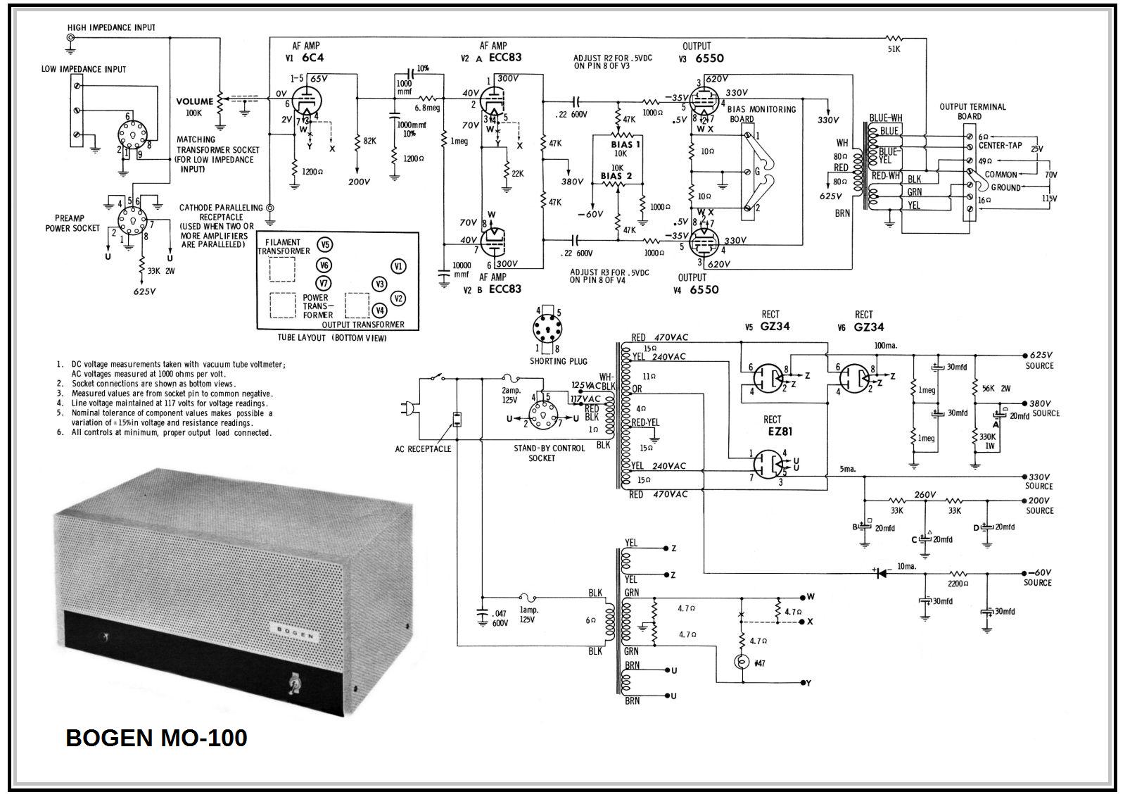 Bogen M-100 , KT88 - 6550 PP.