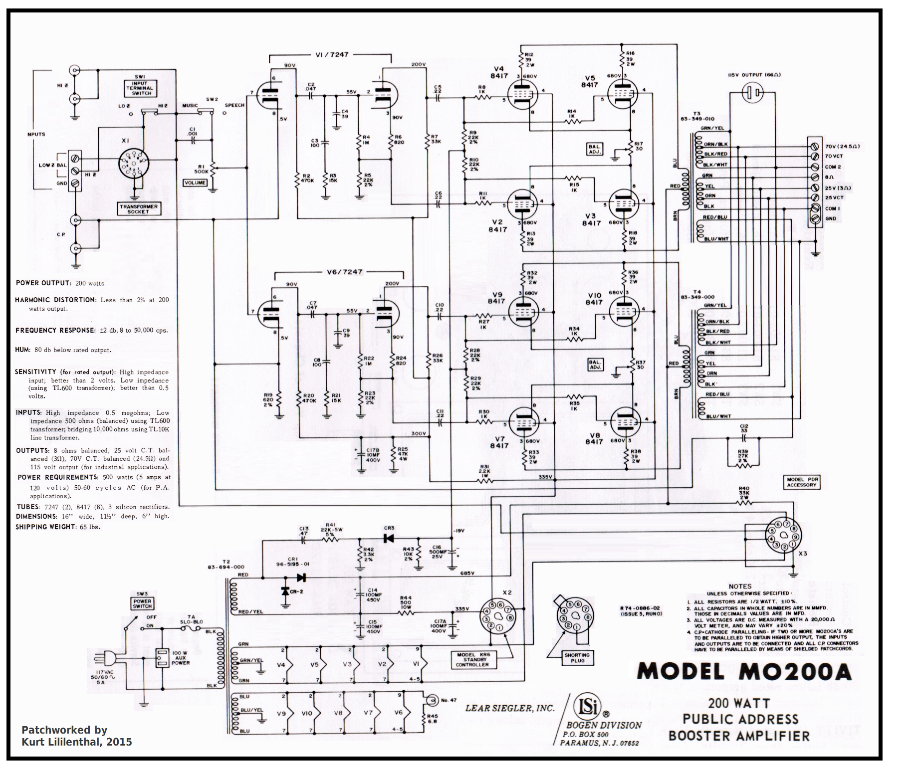 Bogen MO 200A 8417 x 8 PP ed 100 amplifiers part 4 , 1959 82 lilienthal engineering Single Phase Transformer Wiring Diagram at reclaimingppi.co