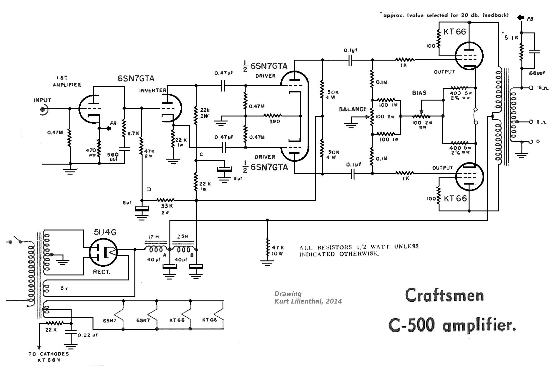 Craftsmen C500, KT66 triode PP, 1954, edt