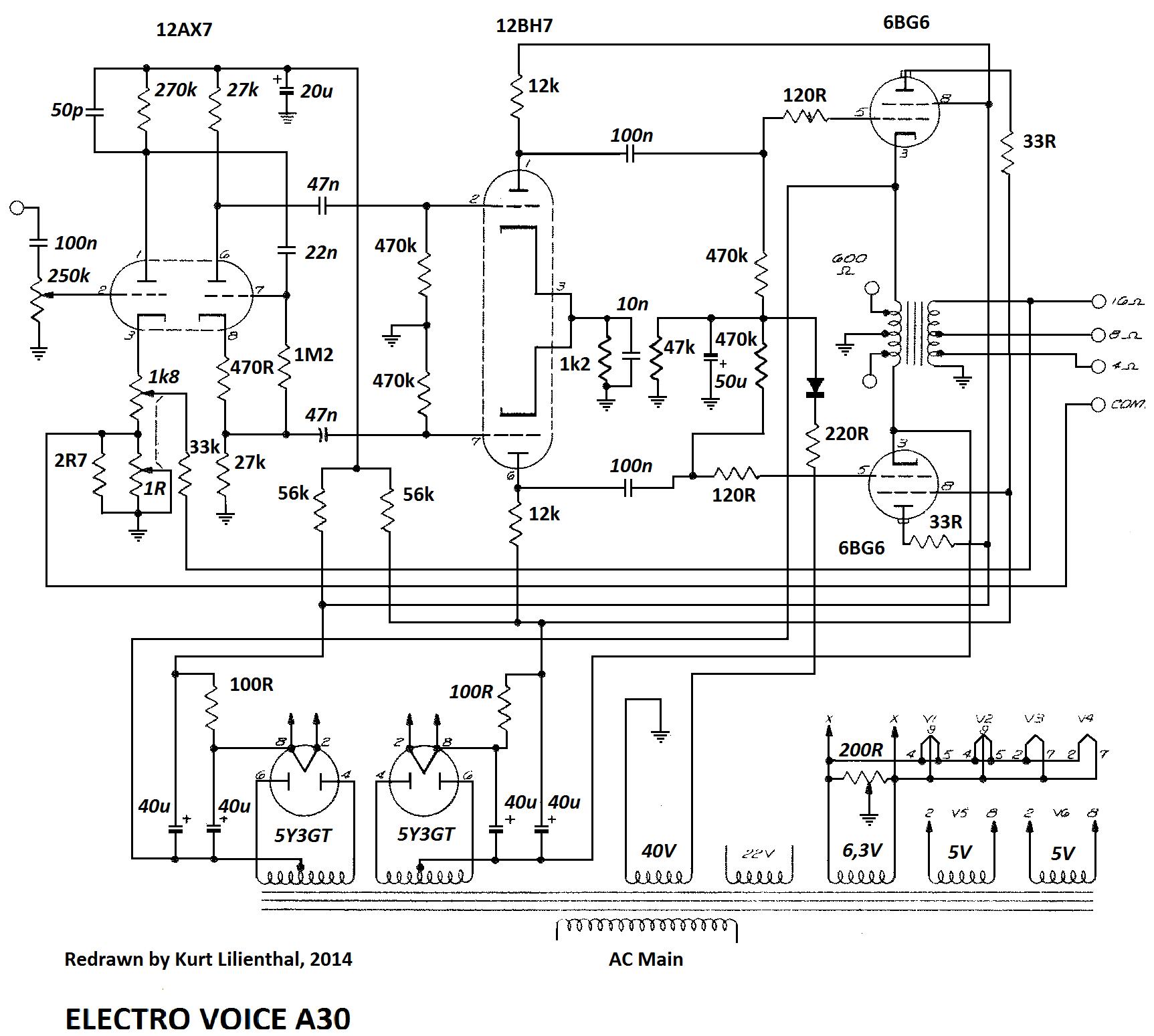 Electro Voice A30, 6BG6 PP, ed.