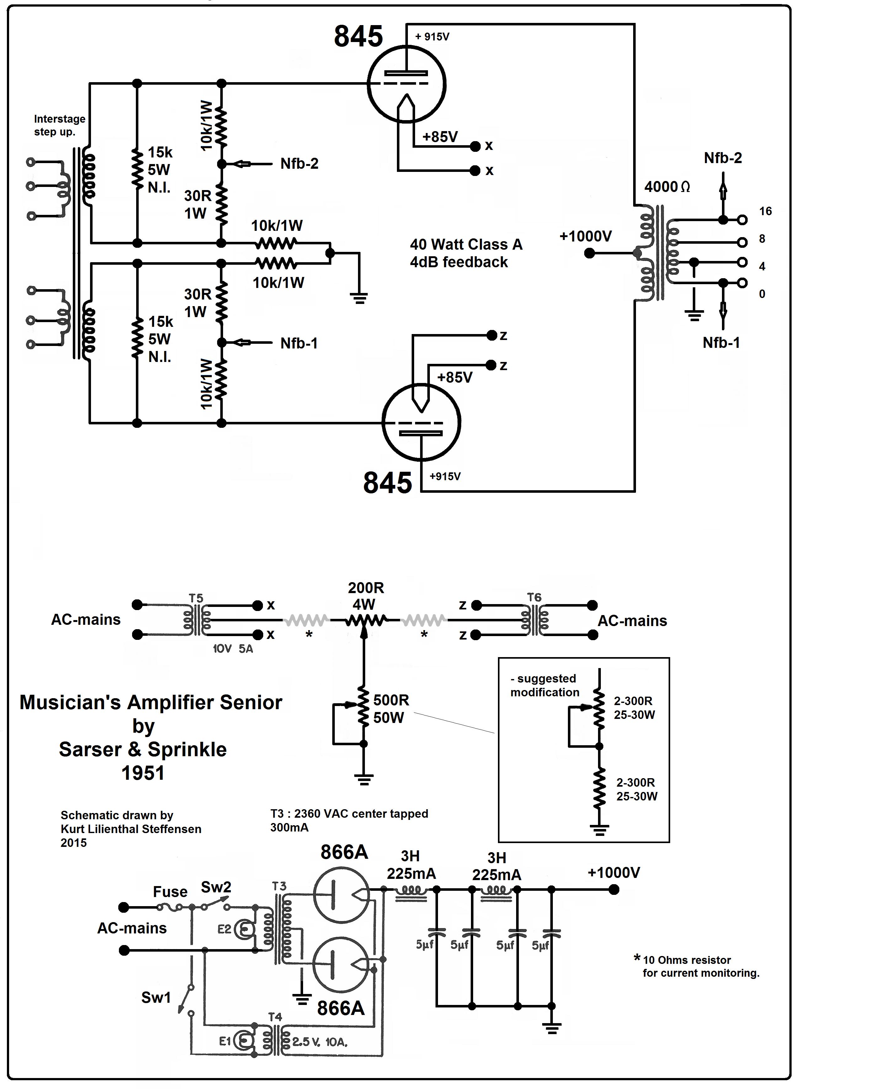 Musicians amplifier Senior, 845 PP, Sarser & Sprinkle, 1951, ed
