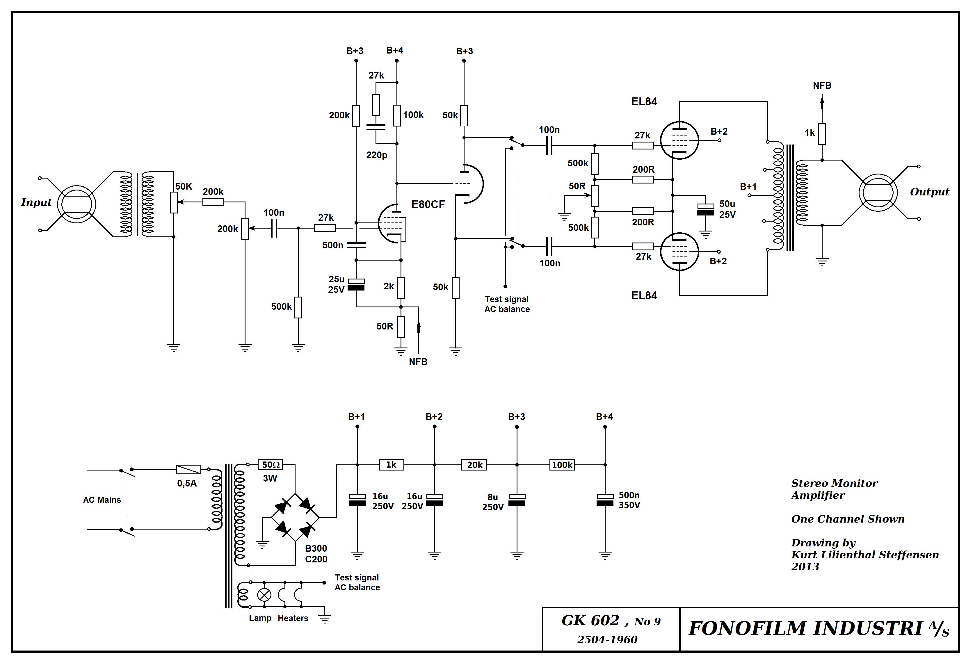 Ortofon Fonofilm GK-602 , EL84 PP stereo, nytegnet