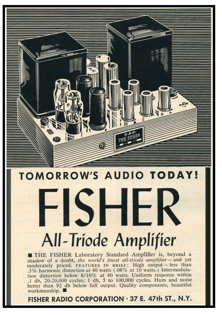 Pix , Fisher all triode Amplifier , Laboratory Standard , drawing advertice