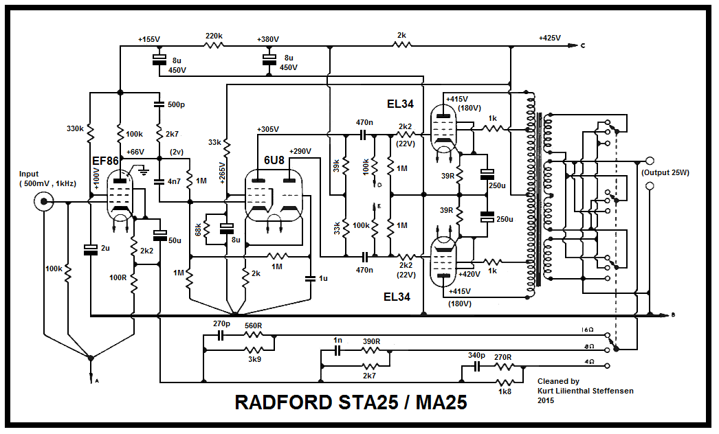 RADFORD STA25, MA25, EL34 PP power amp uden psu