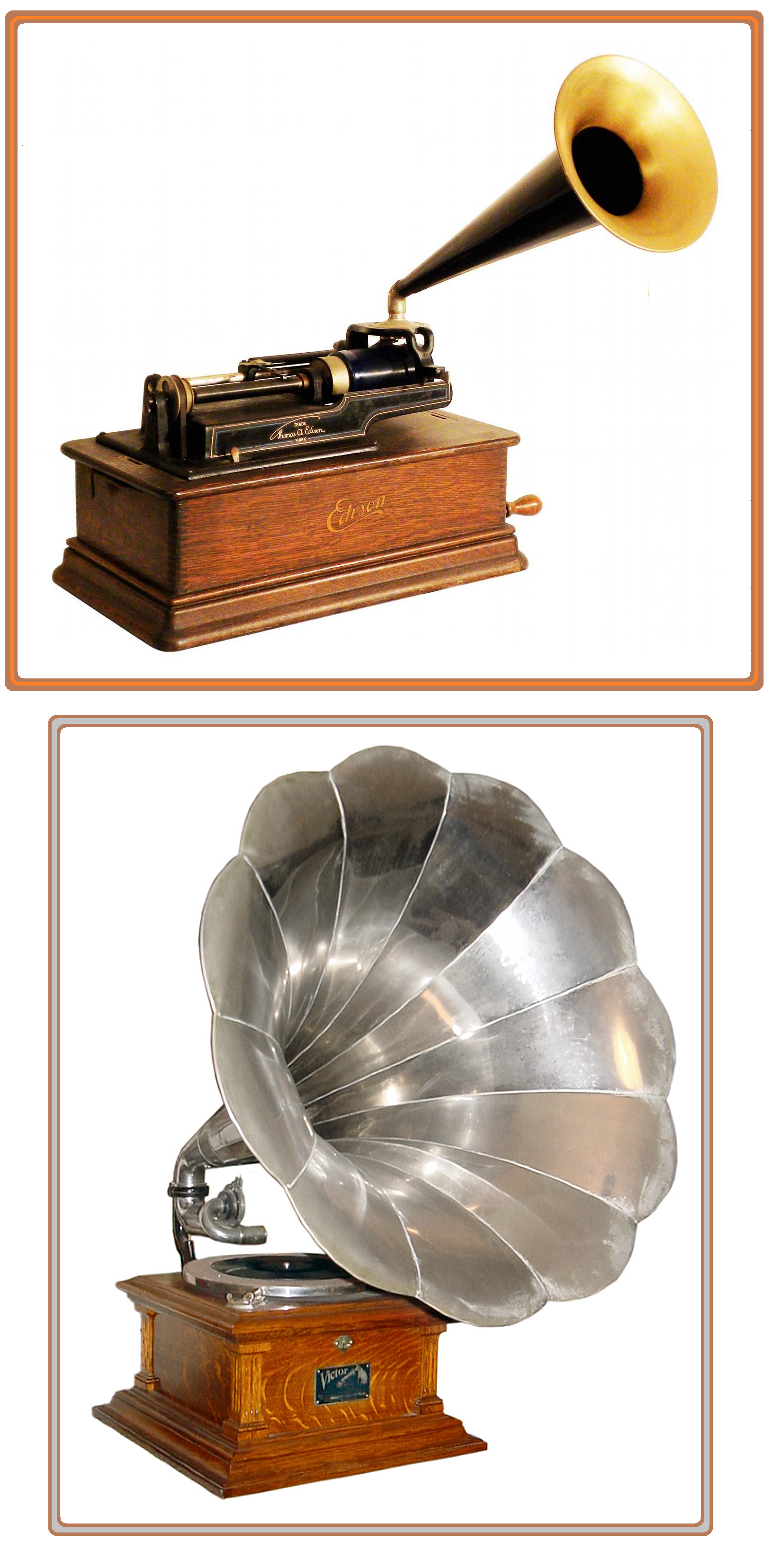 Victrola and Edison phonographs