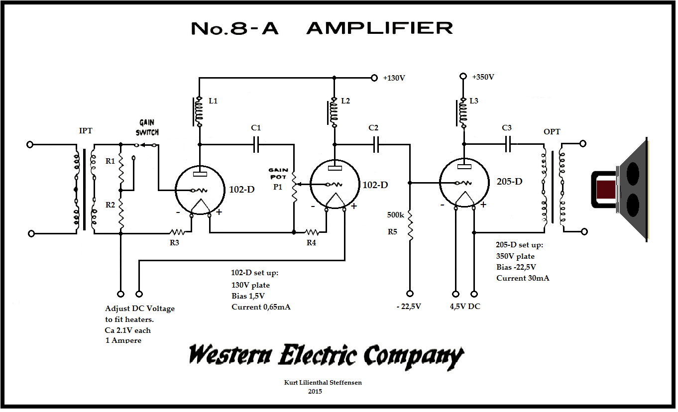 100 Amplifiers Part 1 1916 45 Lilienthal Engineering Circuit As Well 10 Watt Lifier Schematic Also Bat Detector We 8a Re Redrawn