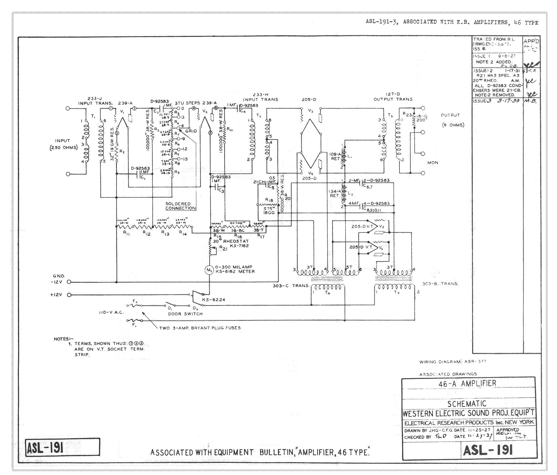 Western Electric 46-A, original schematic