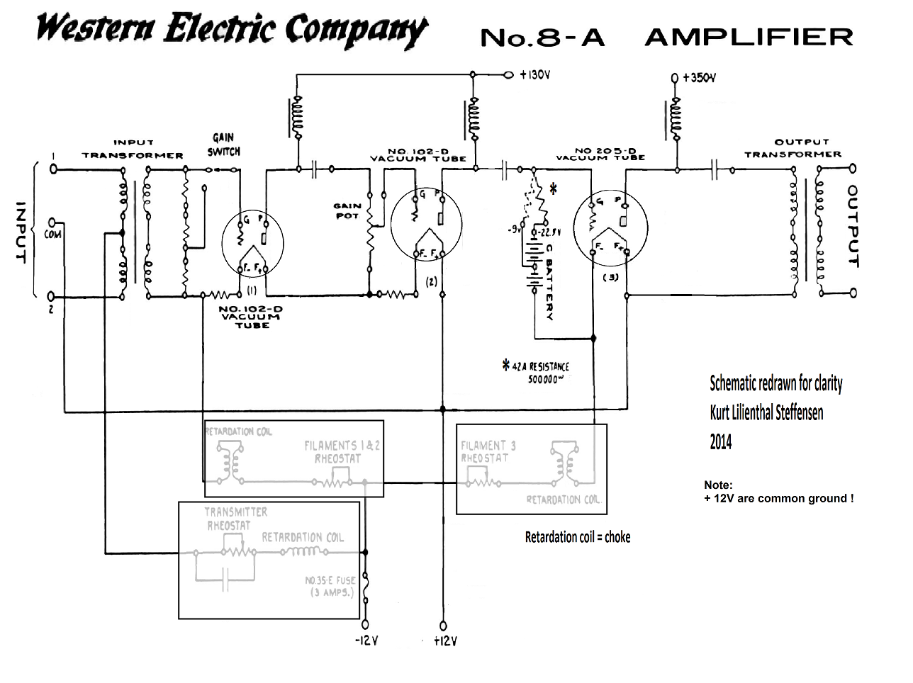 100 Amplifiers Part 1 1916 45 Lilienthal Engineering Audio Power Amplifier Schematics 4w 8 Watt Amp Western Electric 8a Edited
