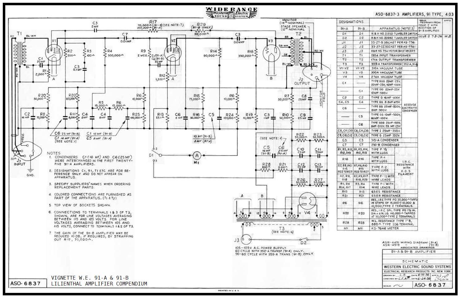 Western Electric 91A , 91B , original schematic cleaned