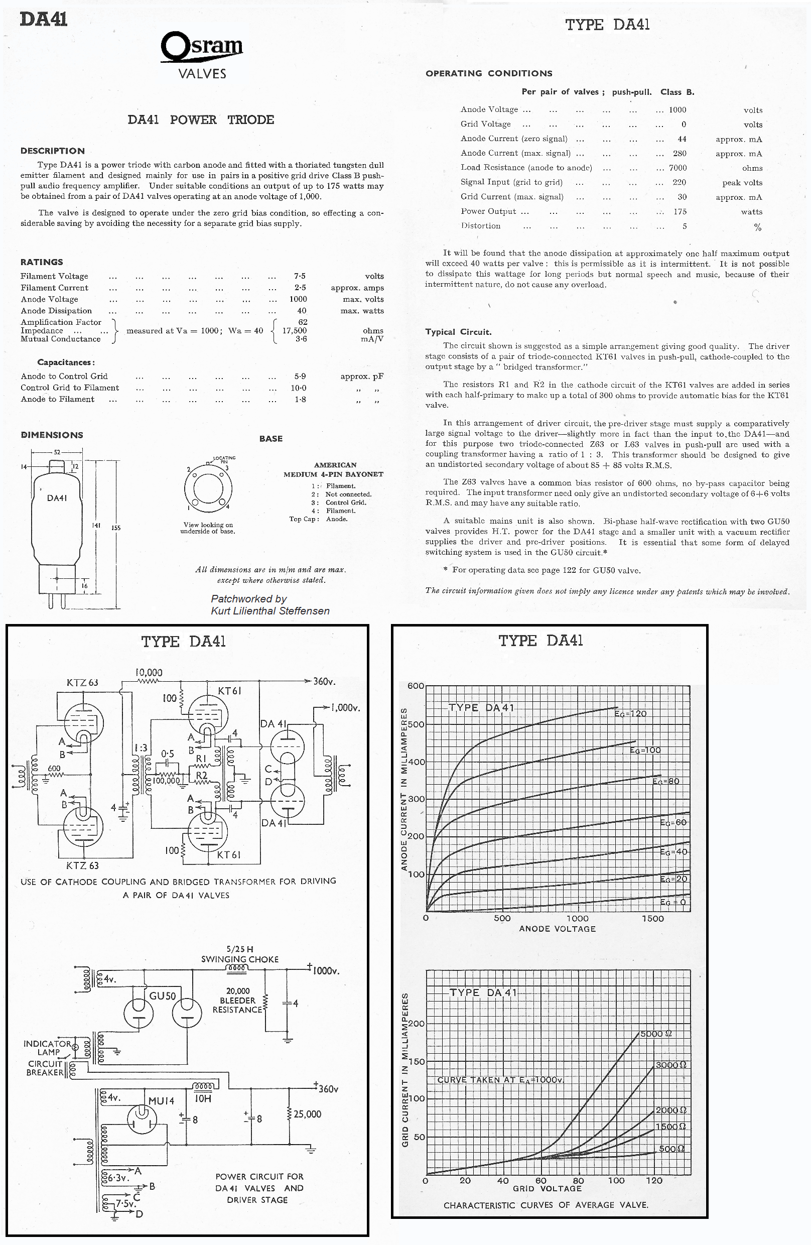 100 Amplifiers Part 1 1916 45 Lilienthal Engineering Switch Wiring Together With 220 Volt Single Phase Motor Diagram Da41 Osram Application Ed