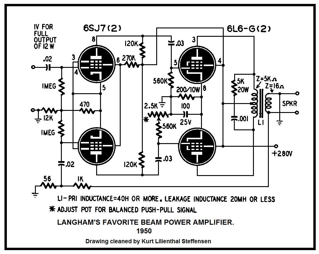 100 Amplifiers Part 2 1945 54 Lilienthal Engineering 25w Hifi Audio Amplifier With Mosfet Circuit Diagram Langhams Favorite Beam Power 6l6g Pp 1950 Vers
