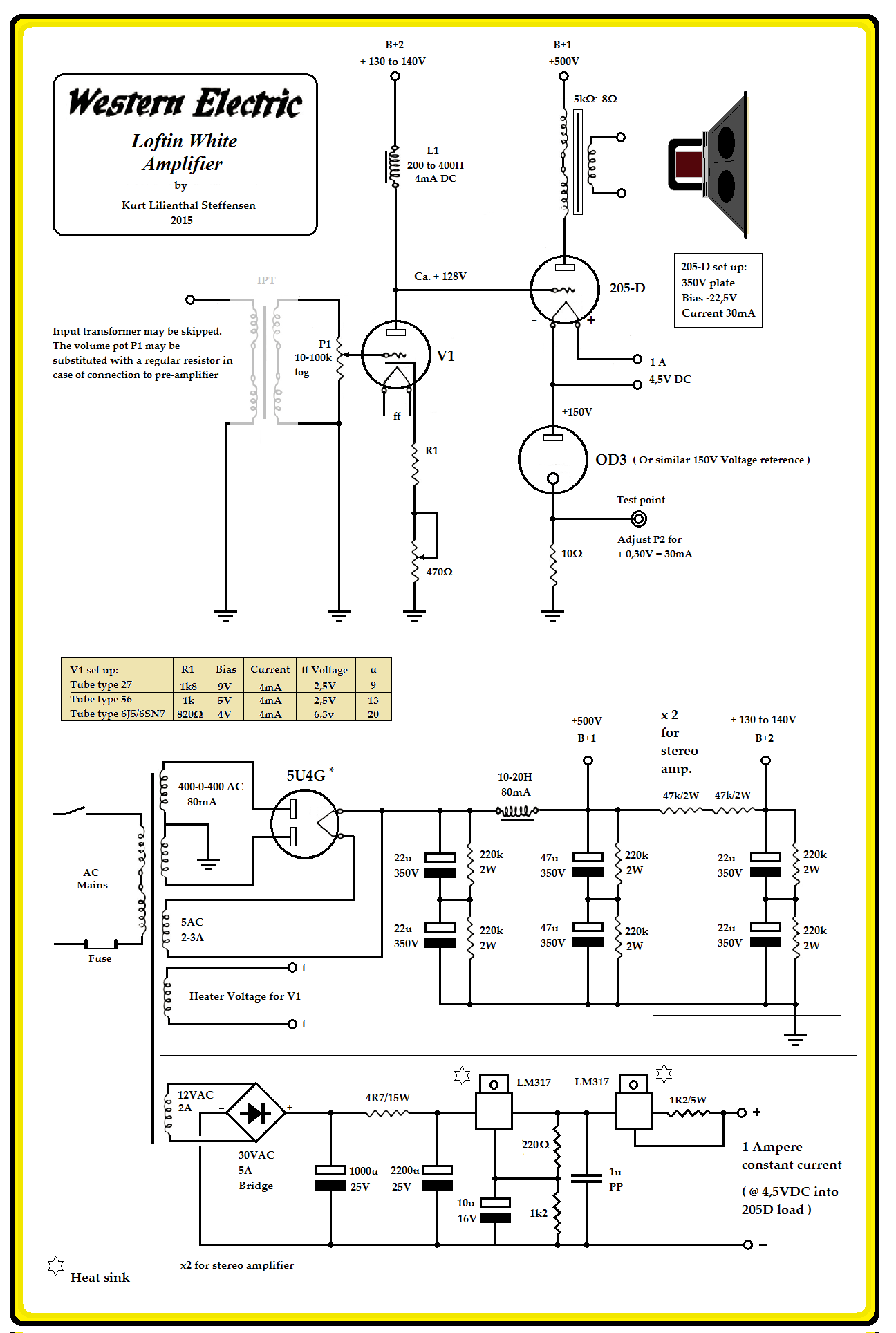 100 Amplifiers Part 1 1916 45 Lilienthal Engineering Once The Bias Is Set This Circuit Will Supply A Constant Current To Welwra Amplifier