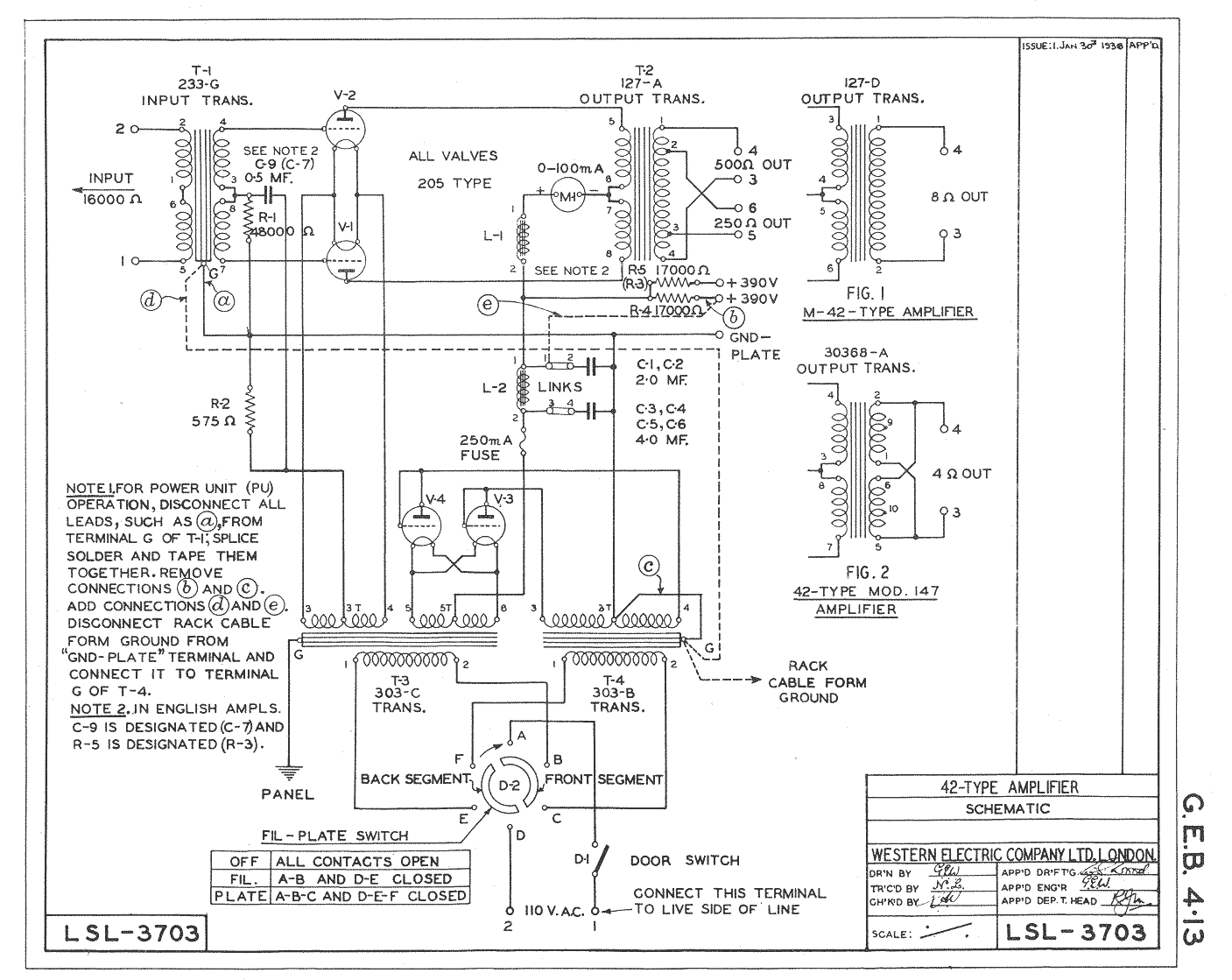 100 Amplifiers Part 1 1916 45 Lilienthal Engineering Figure Schematic Wiring Diagram Western Electric 42 Amplifier Original